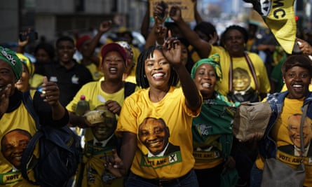 ANC supporters at a victory rally in downtown Johannesburg on Sunday