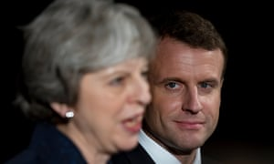 The French president, Emmanuel Macron, with Theresa May at the Anglo-French summit at Sandhurst in January.