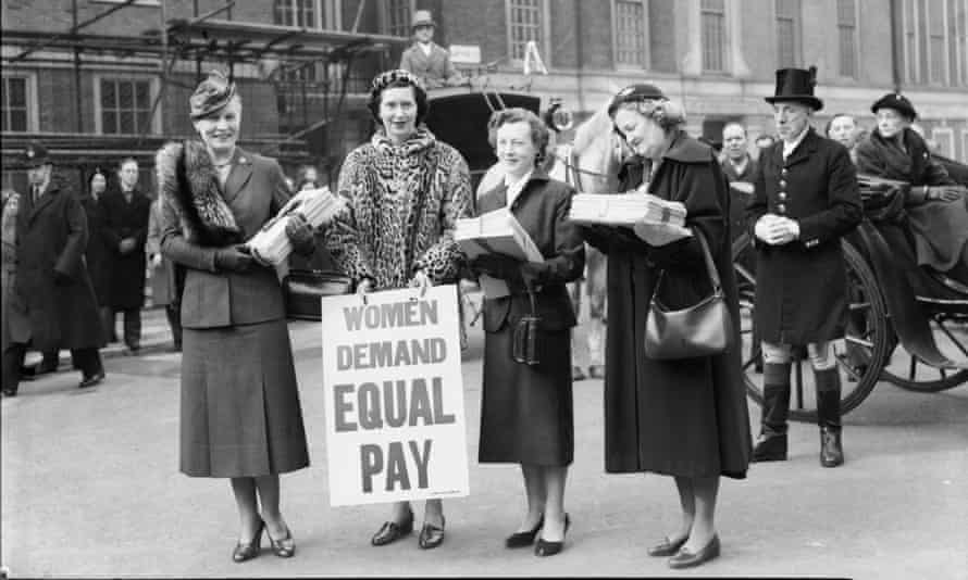 Left to right, Women Parliamentarians Edith Summerskill, Patricia Ford, Barbara Castle and Irene Ward walk to the House of Commons with a petition demanding equal pay for women on March 8, 1954
