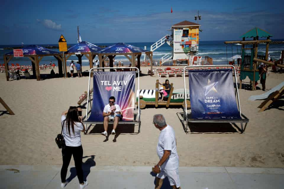 Giant beach chairs welcome Eurovision fans to Tel Aviv.