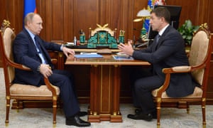 Vladimir Putin meets Mikhail Oseyevsky, the president of the state-controlled telecoms giant, Rostelecom, which has bought two mobile operators.