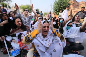 Peshawar, Pakistan Transgenders shout slogans during a protest as they demand the police to arrest the culprits behind the murder of one of their community. The Pakistani Parliament has recently approved the country's first law that seeks to guarantee the rights of transsexuals, which states that they must inherit property and prohibits their discrimination in educational and employment institutions