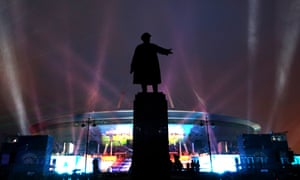 A light show at the newly completed Zenit Arena.