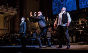Opera North's semi-staged Ring Cycle with Andrew Foster-Williams (Gunther); Mats Almgren (Hagen) and Mati Turi (Siegfried)