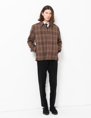 model wears jacket, £340, samsoe.com. Shirt, £38, riverisland.com. Tie, £6, asos.com. Trousers, £100, basicrights.com. Shoes, £150, underground-england.co.uk.