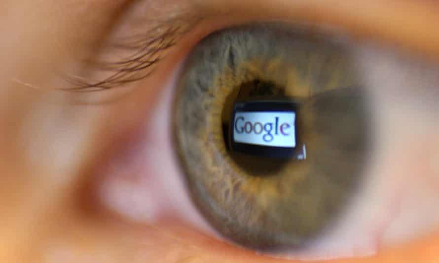 Google logo appears reflected in an eye
