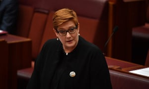 Australian foreign minister Marise Payne in parliament on Wednesday.