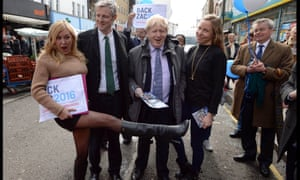 Zac Goldsmith and Boris Johnson meeting fans while campaigning on a walkabout in Portobello Road.
