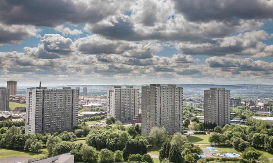 The high-rise flats in Sighthill. All but one of the blocks have now been demolished.