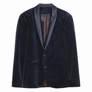 Navy velvet jacket, Zara