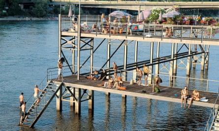 Rheinbad Breite bathing house on the river Rhine in Basel, Switzerland.