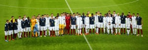 England and France stand together before the friendly at Wembley played shortly after the Paris terrorist attacks last year.