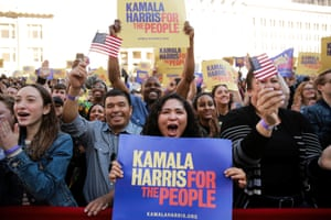 Supporters cheer while listening to US senator Kamala Harris speak at the launch of her campaign