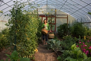Alison Gannett harvests in her garden in Paonia, Colorado, where she grows all her own food.