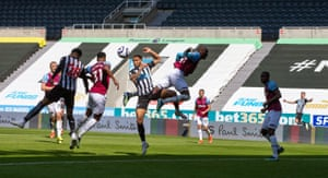 Joe Willock (second left) heads home to put the Magpies ahead again.