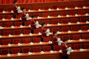 Attendants prepare tea inside the Great Hall