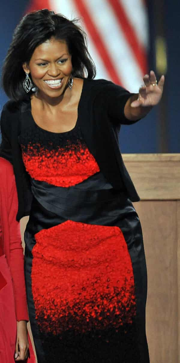 Michelle Obama in a controversial Narciso Rodriguez dress at Barack's first election night victory rally in 2008