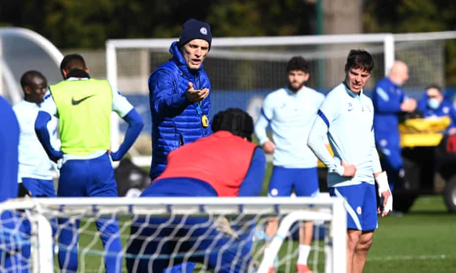 Thomas Tuchel takes training at Chelsea on Friday before Sunday's Premier League game at home to Manchester United.
