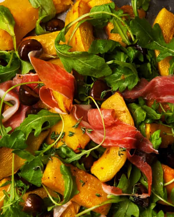 A warm salad of roasted pumpkin, prosciutto and chestnuts