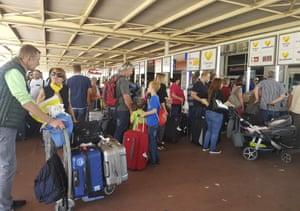 British passengers with Thomas Cook wait in queue at Antalya airport in Antalya, Turkey