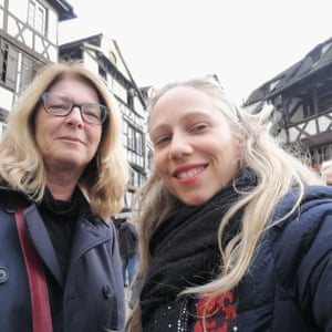 Nathalie Junières (right) with her friend Christine in the Petite France district in Strasbourg.
