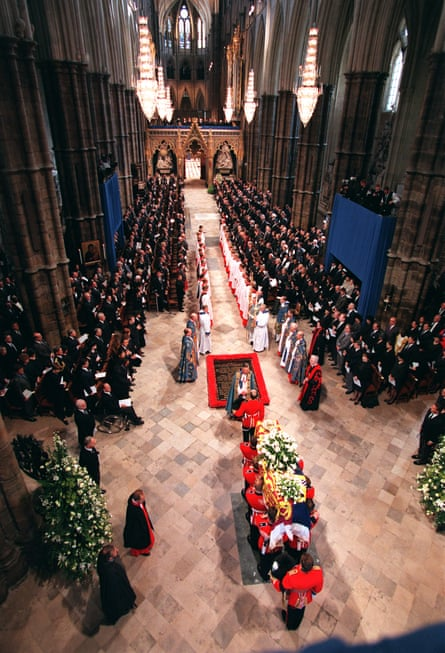A world away … the funeral at Westminster Abbey in September 1997.