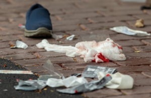 Bandages on the road after the shooting at al-Noor mosque