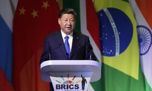 Chinese President Xi Jinping delivers his speech at the opening of the BRICS Summit in Johannesburg today