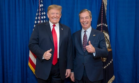 Donald Trump and Nigel Farage during talks at the White House over a no-deal Brexit, March 2019