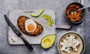 Kimchi, egg, avocado and feta on sourdough.
