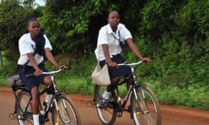 Girls pedal their Buffalos to school in Siaya county, Nyanza region.