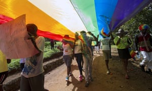 A pride parade in 2015, in Entebbe, close to Uganda's capital, Kampala.