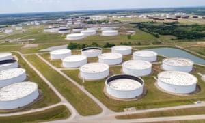 Crude oil storage tanks at the Cushing oil hub in Cushing, Oklahoma.