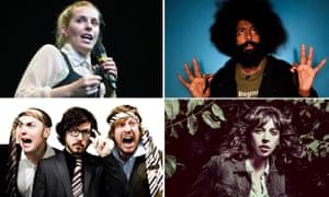 Clockwise from top left, Sara Pascoe, Reggie Watts, Bridget Christie, Pappy's.