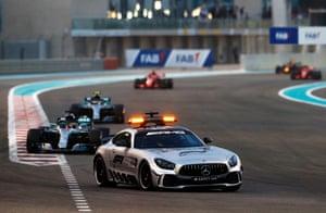 The Safety Car ahead of Lewis Hamilton