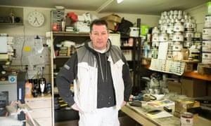 Bidwell in his workshop.