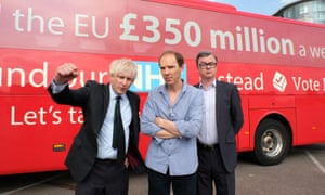 Richard Goulding as Boris Johnson, Benedict Cumberbatch as Dominic Cummings and Oliver Maltman as Michael Gove in the Channel 4 drama The Uncivil War.