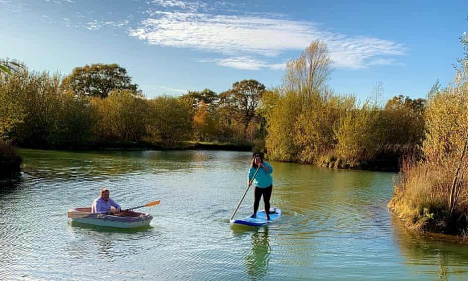Michelle Elman paddleboarding in Suffolk