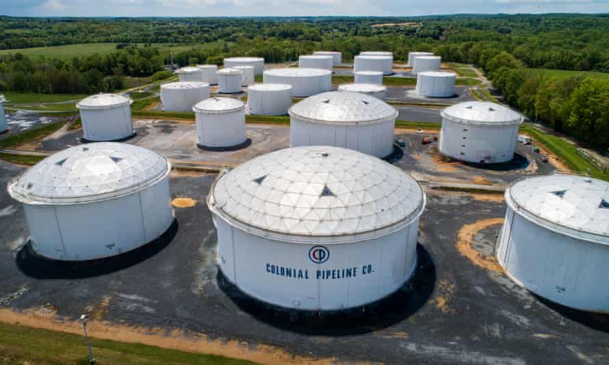 Fuel tanks at a Colonial Pipeline breakout station in Woodbine, Maryland, on 8 May.