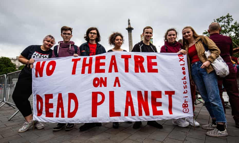 Extinction Rebellion XR activists disrupt the Royal Opera House BP Big Screen's Romeo and Juliet event in Trafalgar Square.