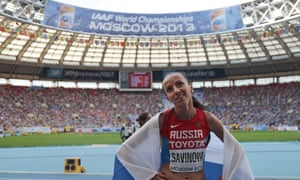 Russia's Mariya Savinova after winning silver in the women's 800m final at the World Athletics Championships, Moscow, 2013.