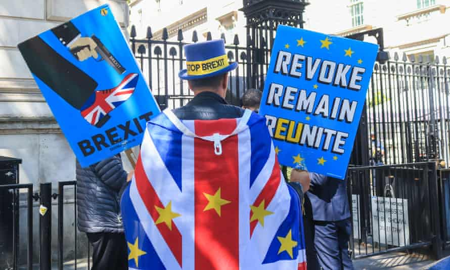 A Brexit protest outside the Houses of Parliament on 14 May.