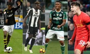 From left to right: Alexander Isak of AIK, Juventus's Moise Kean, Gabriel Jesus, who is leaving Palmeiras, and Liverpool's Ben Woodburn