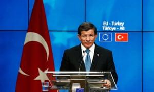 Turkey's prime minister, Ahmet Davutoğlu, in Brussels