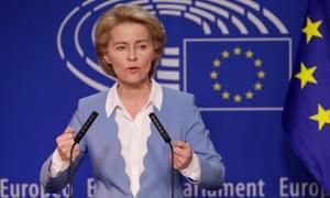Ursula von der Leyen gives a press briefing in Brussels