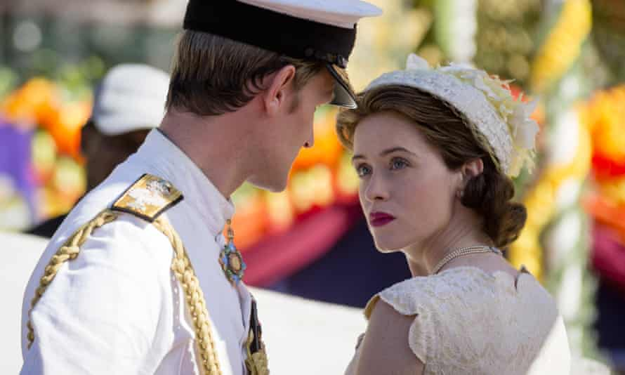 Claire Foy with Matt Smith in a scene from The Crown