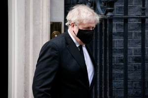 British prime minister Boris Johnson leaves 10 Downing Street for a session of Parliamentary tributes to Prince Philip in the House of Commons in London, United Kingdom on 12 April, 2021.