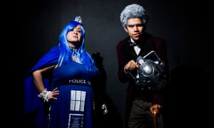 Tuesday Harris cunningly disguised as a Tardis and Dominic Greenwood-Martin dressed as Matt Smith's eleventh incarnation of the Doctor