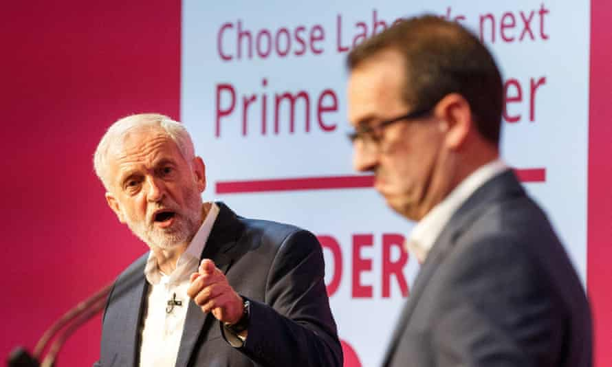 Jeremy Corbyn (left) and Owen Smith go head to head during a Labour leadership hustings in Glasgow