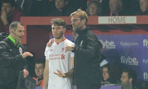 Jürgen Klopp with Liverpool youngster Joe Maguire at Exeter on Friday.